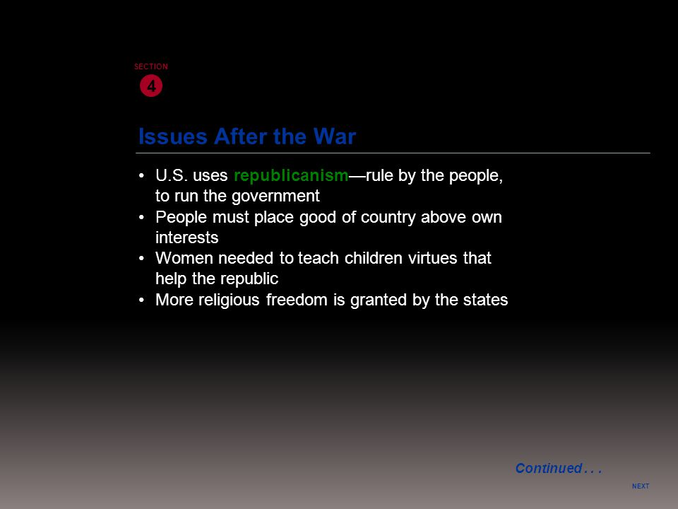 Issues After the War NEXT 4 SECTION U.S. uses republicanism—rule by the people, to run the government More religious freedom is granted by the states