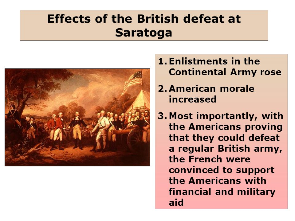 27 1.Enlistments in the Continental Army rose 2.American morale increased 3.Most importantly, with the Americans proving that they could defeat a regular British army, the French were convinced to support the Americans with financial and military aid Effects of the British defeat at Saratoga