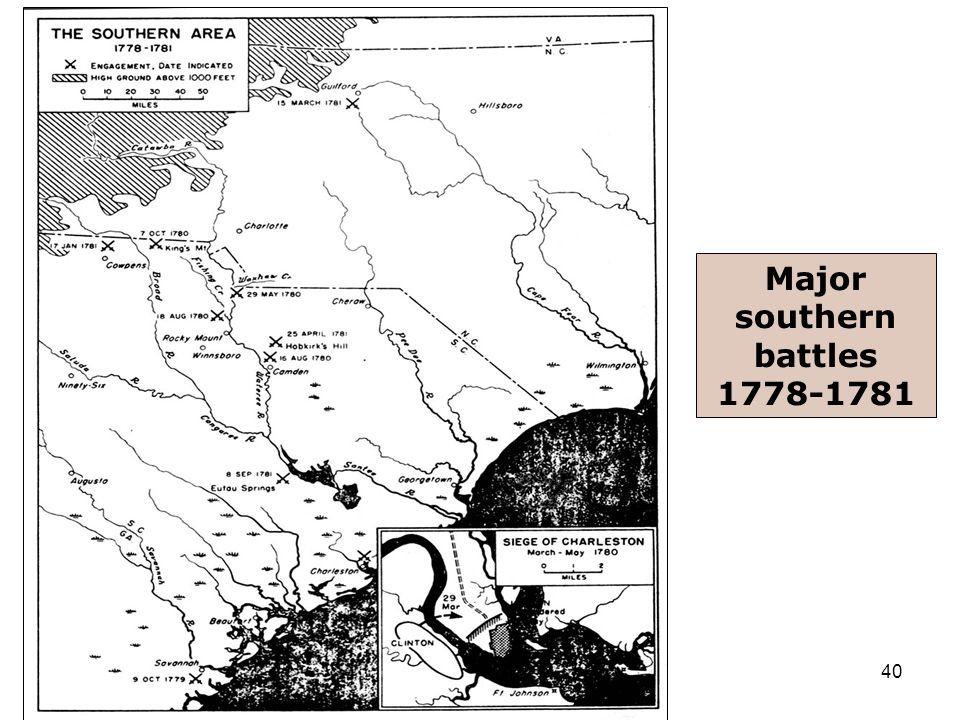 40 Major southern battles 1778-1781