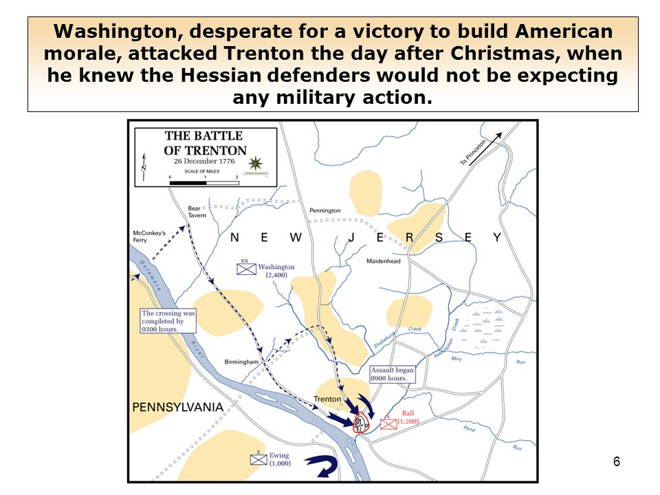 6 Washington, desperate for a victory to build American morale, attacked Trenton the day after Christmas, when he knew the Hessian defenders would not be expecting any military action.