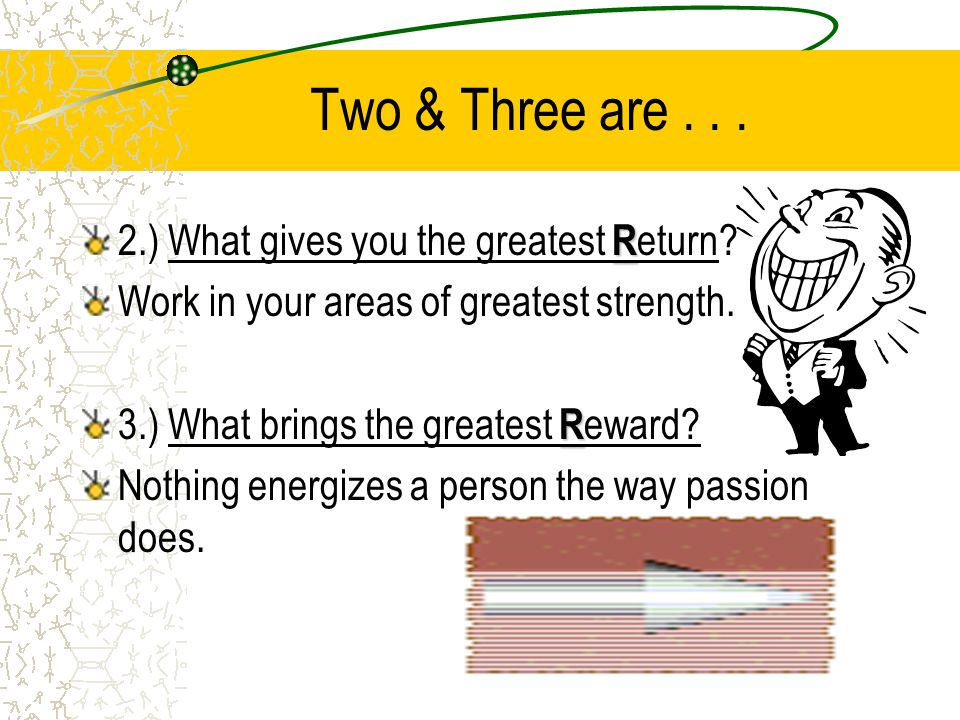 Two & Three are...R 2.) What gives you the greatest R eturn.