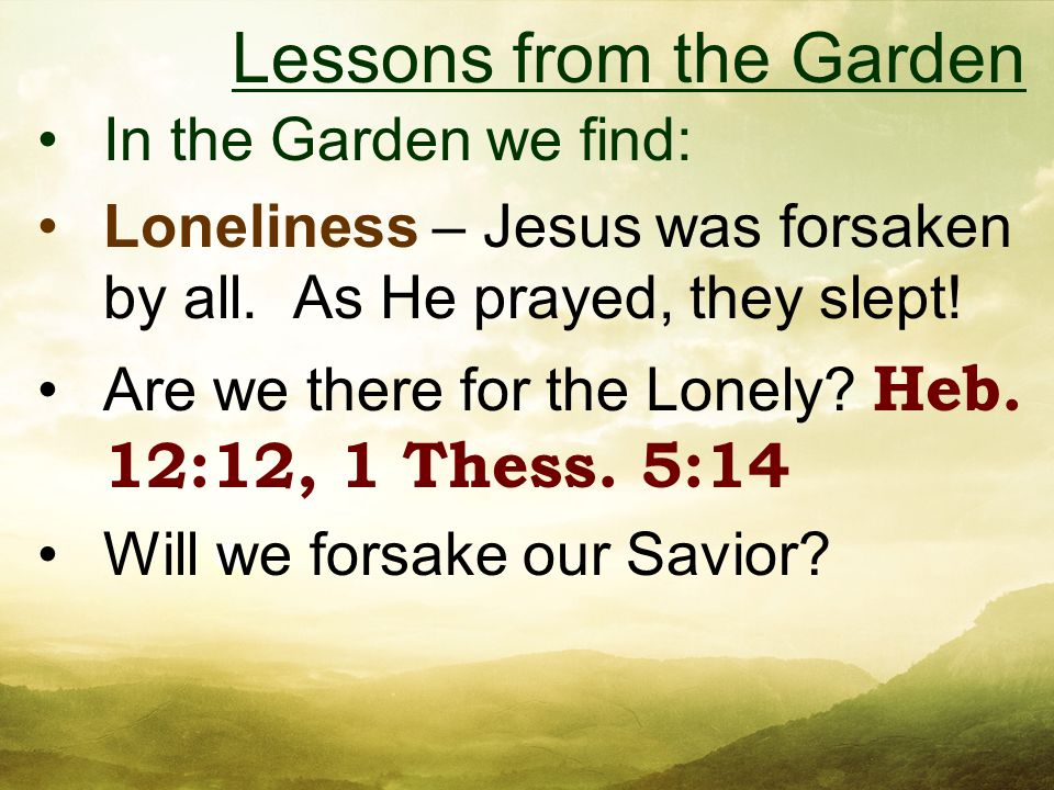 In the Garden we find: Loneliness – Jesus was forsaken by all.
