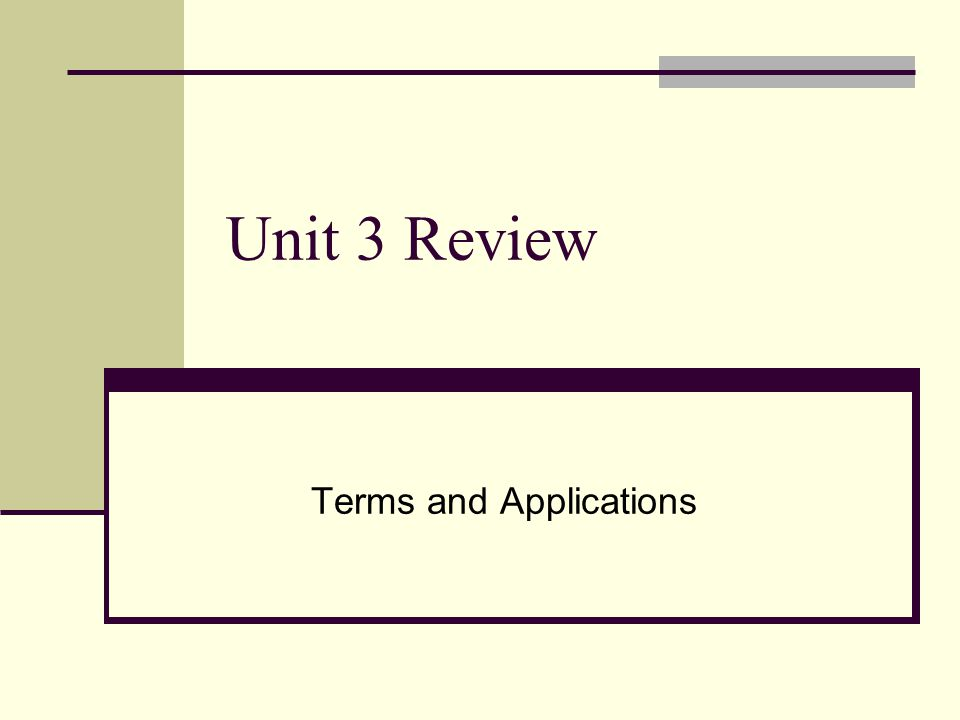 Unit 3 Review Terms and Applications