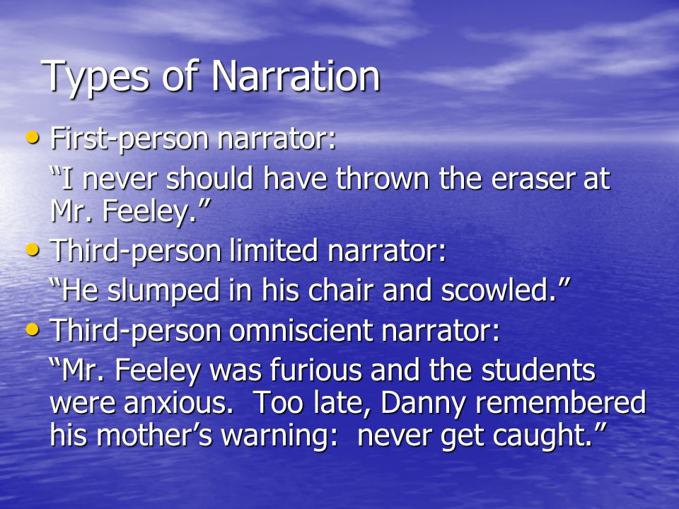 Types of Narration First-person narrator: First-person narrator: I never should have thrown the eraser at Mr.