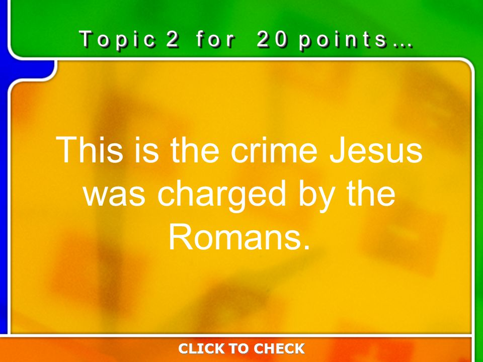 2:202:20 This is the crime Jesus was charged by the Romans.