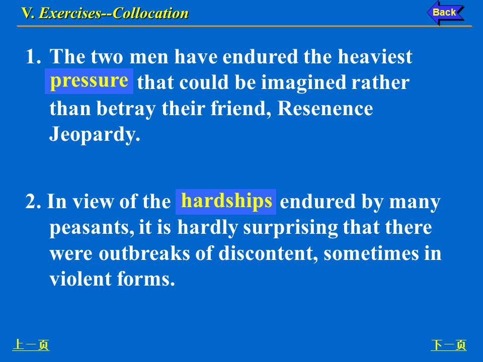 Ex. V, p. 67 《读写教程 IV 》 : Ex. V, p. 67 V. Exercises--Collocation 下一页 V.