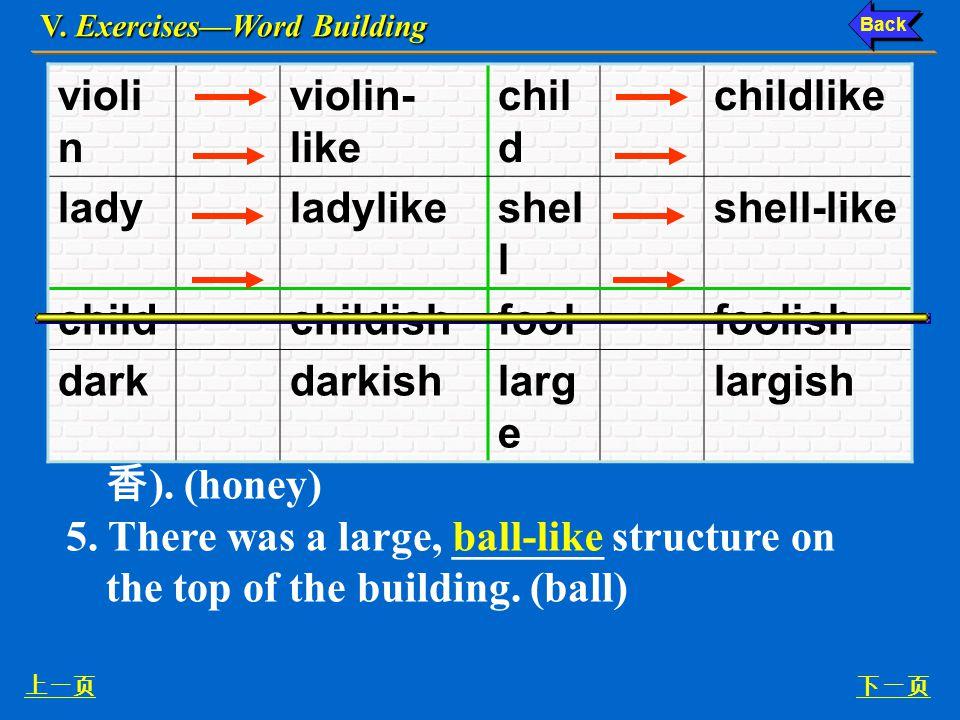 V. Exercises—Word Building 上一页下一页 2.