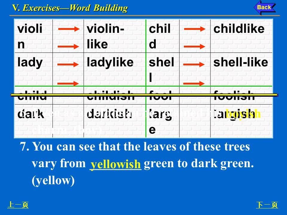V. Exercises—Word Building 上一页下一页 4.
