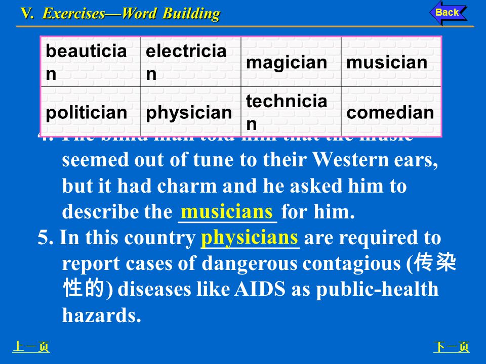 V. Exercises—Word Building 下一页上一页 2. They are looking for a laboratory _________, who is very good at the detailed technical aspects of laboratory man