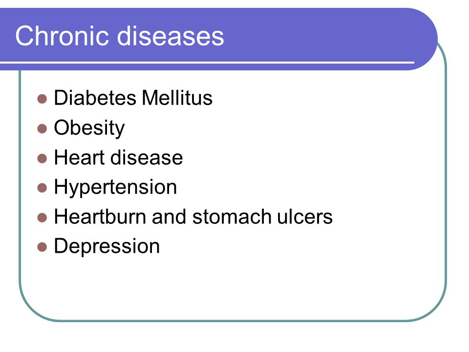 Chronic diseases Diabetes Mellitus Obesity Heart disease Hypertension Heartburn and stomach ulcers Depression