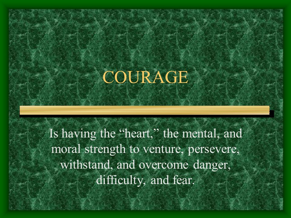 COURAGE Is having the heart, the mental, and moral strength to venture, persevere, withstand, and overcome danger, difficulty, and fear.