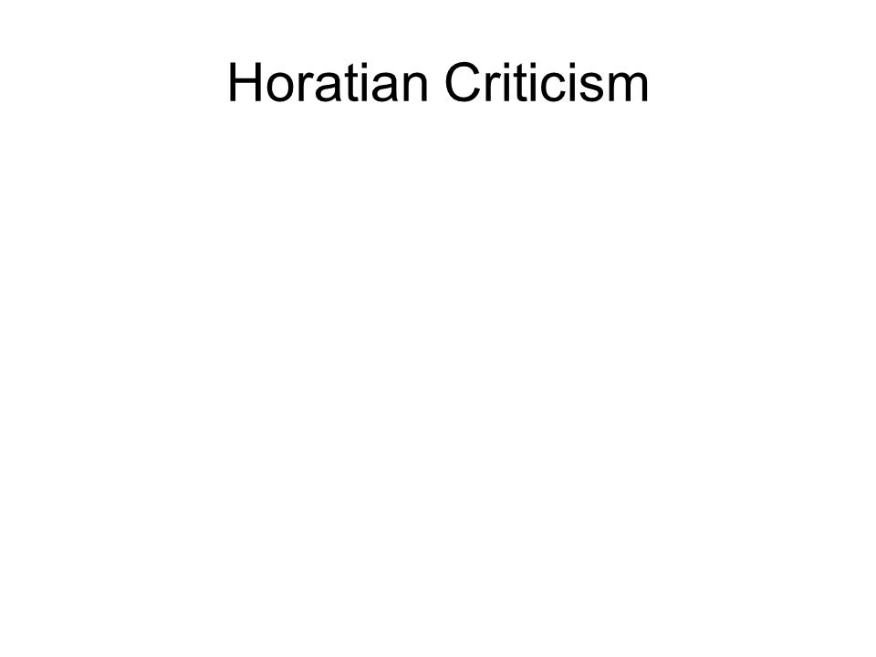 Horatian Criticism
