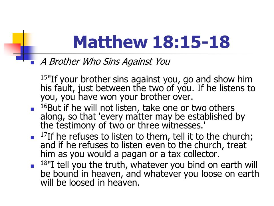 Matthew 18:15-18 A Brother Who Sins Against You 15
