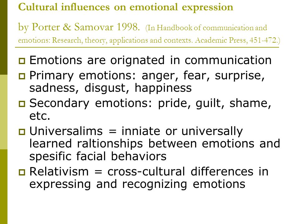 Cultural influences on emotional expression by Porter & Samovar 1998. (In Handbook of communication and emotions: Research, theory, applications and c