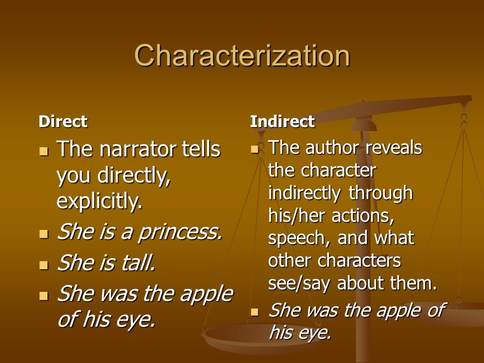 Characterization Direct The narrator tells you directly, explicitly.