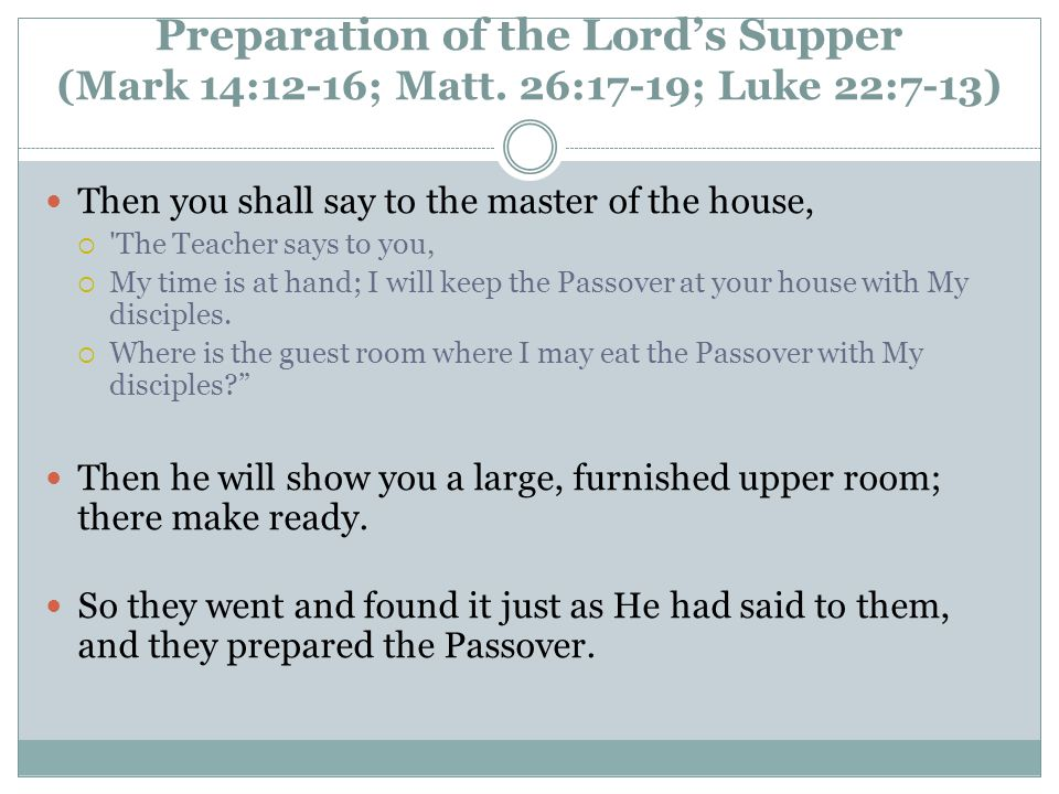 Preparation of the Lord's Supper (Mark 14:12-16; Matt.