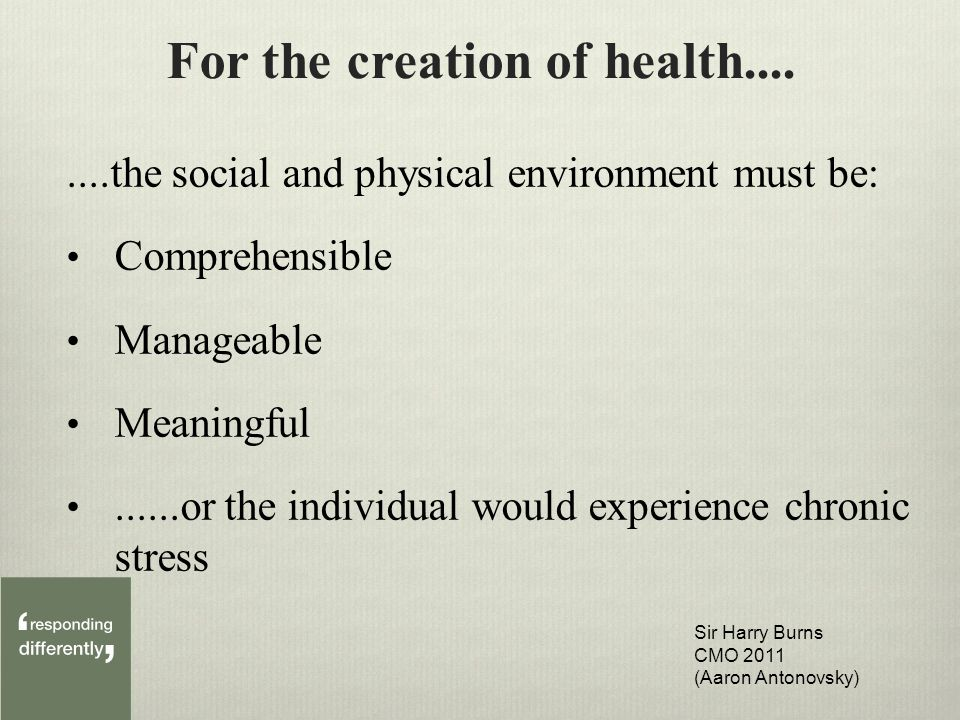 For the creation of health........the social and physical environment must be: Comprehensible Manageable Meaningful......or the individual would experience chronic stress Sir Harry Burns CMO 2011 (Aaron Antonovsky)