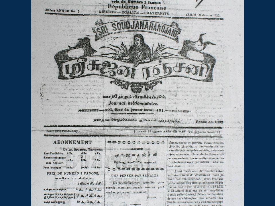 Photocopy front page of Sri Soudjanarandajani – crop before 'le premier avion a Pondicherry