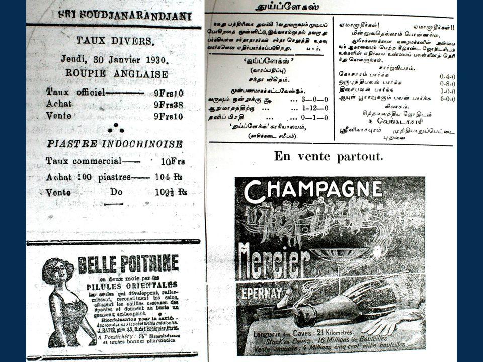 photocopy 2 ads split screen - Champagne Mercier next to Tamil writing and 'Belle Poitrine' in Sri Soudanarandjani