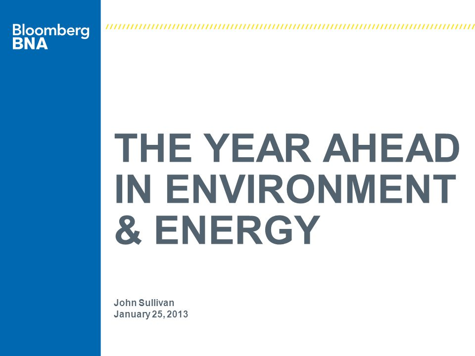 THE YEAR AHEAD IN ENVIRONMENT & ENERGY John Sullivan January 25, 2013