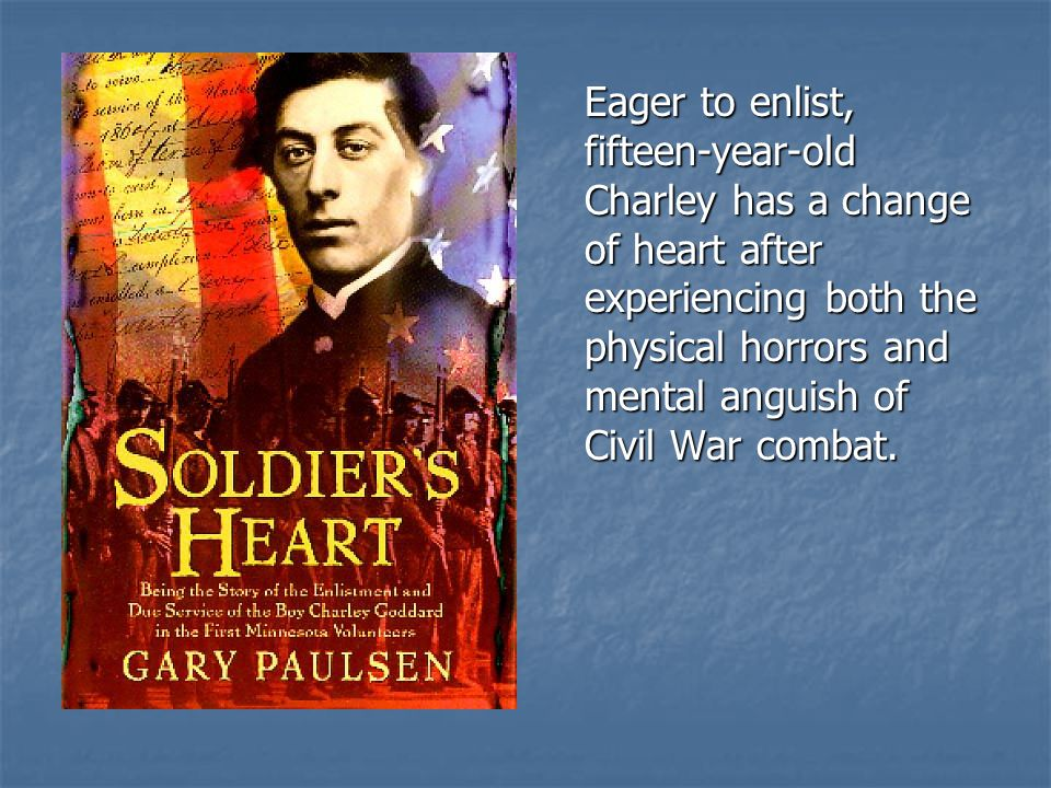 Eager to enlist, fifteen-year-old Charley has a change of heart after experiencing both the physical horrors and mental anguish of Civil War combat.