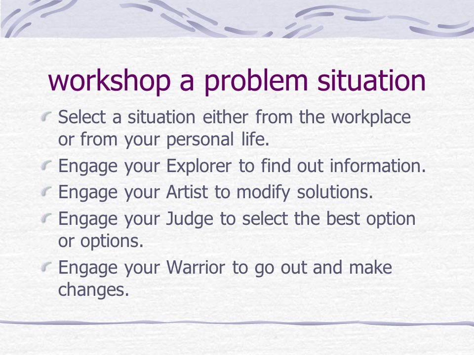 workshop a problem situation Select a situation either from the workplace or from your personal life.