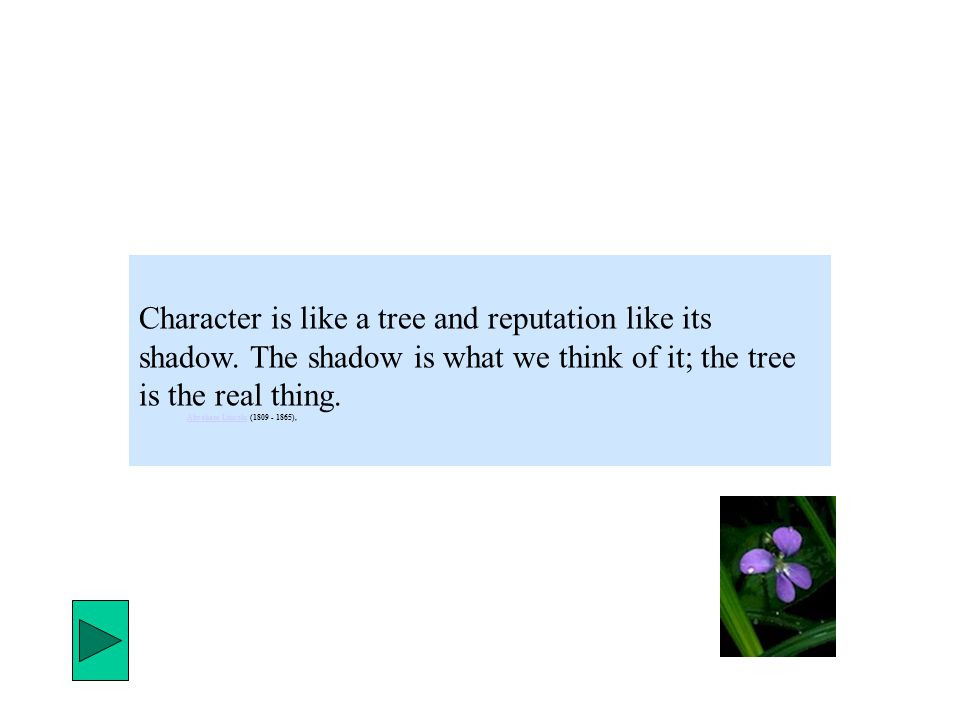Character is like a tree and reputation like its shadow.