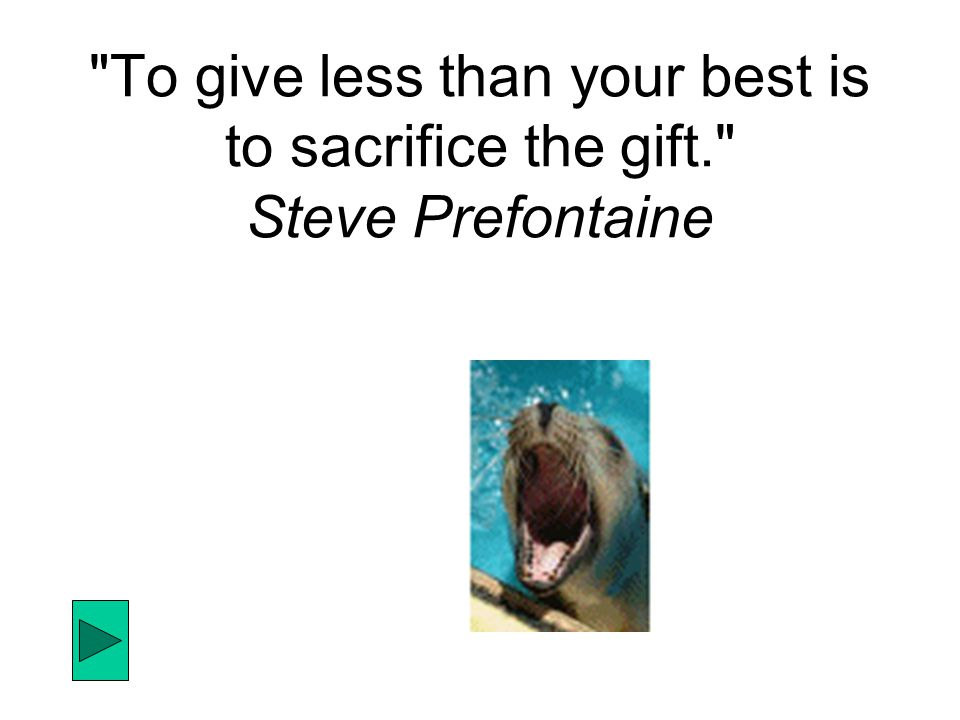To give less than your best is to sacrifice the gift. Steve Prefontaine