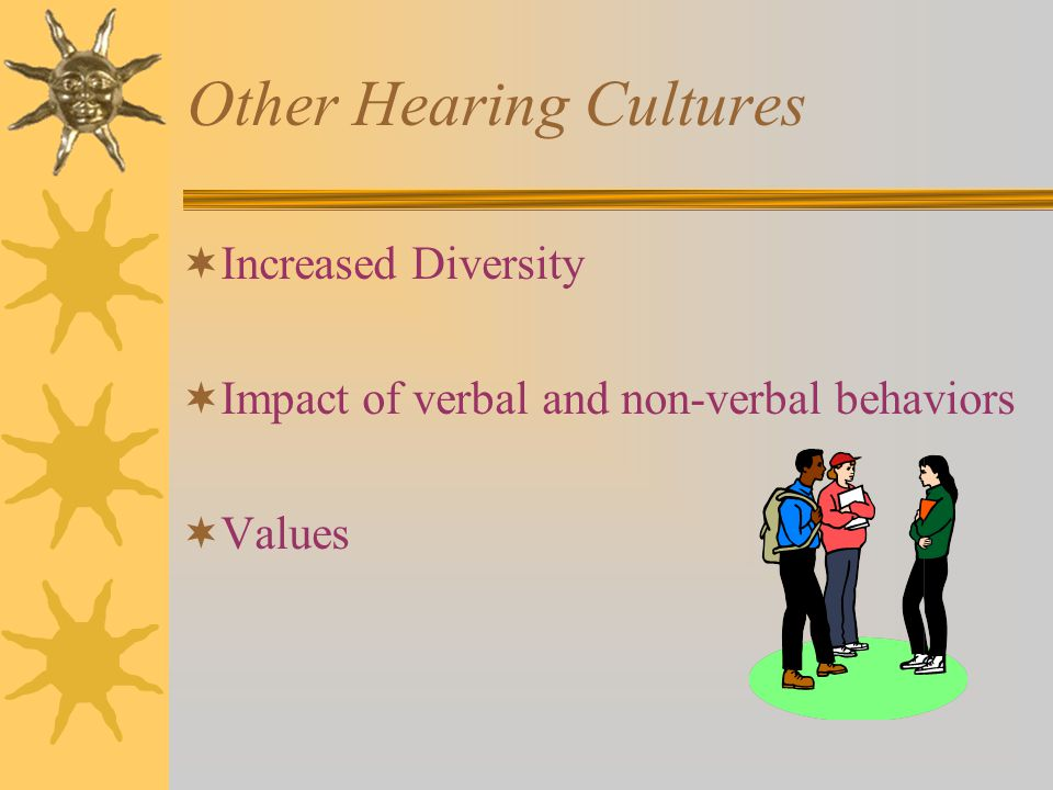 Other Hearing Cultures  Increased Diversity  Impact of verbal and non-verbal behaviors  Values