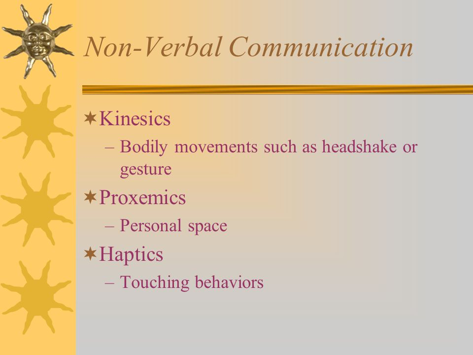 Non-Verbal Communication  Kinesics –Bodily movements such as headshake or gesture  Proxemics –Personal space  Haptics –Touching behaviors