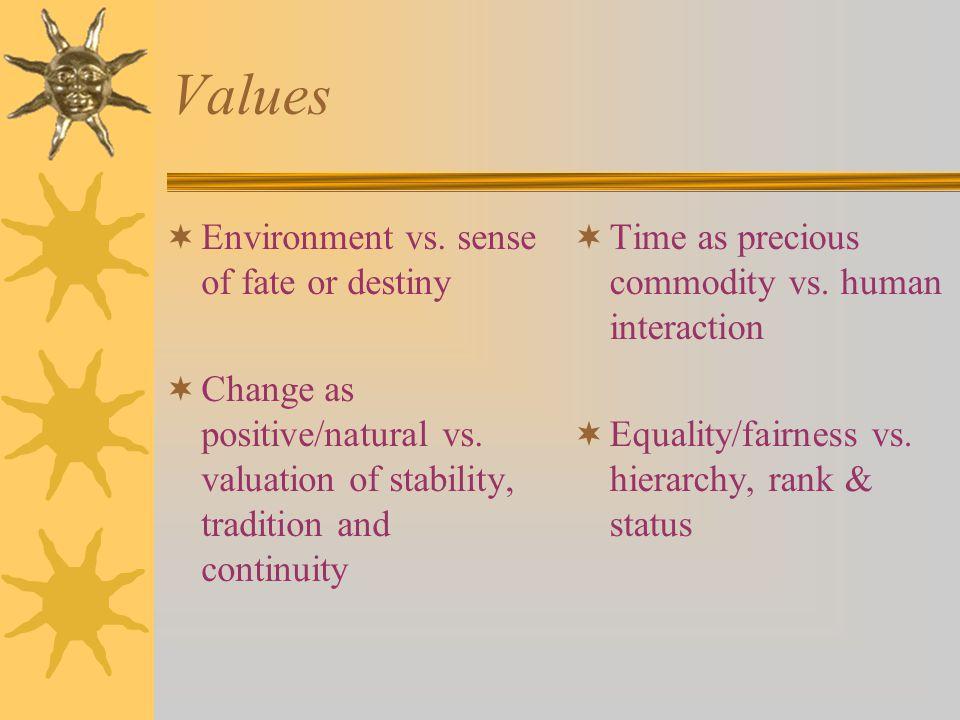 Values  Environment vs. sense of fate or destiny  Change as positive/natural vs.