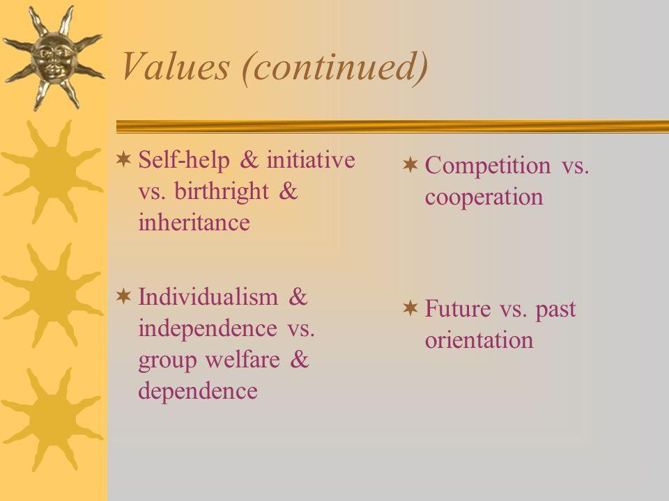 Values (continued)  Self-help & initiative vs.