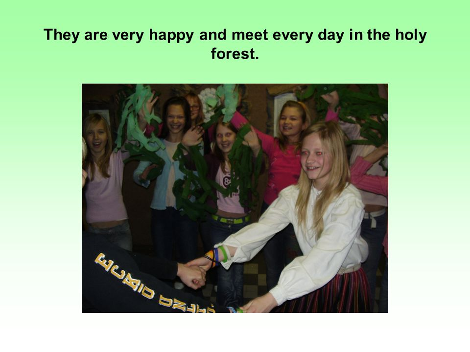 They are very happy and meet every day in the holy forest.