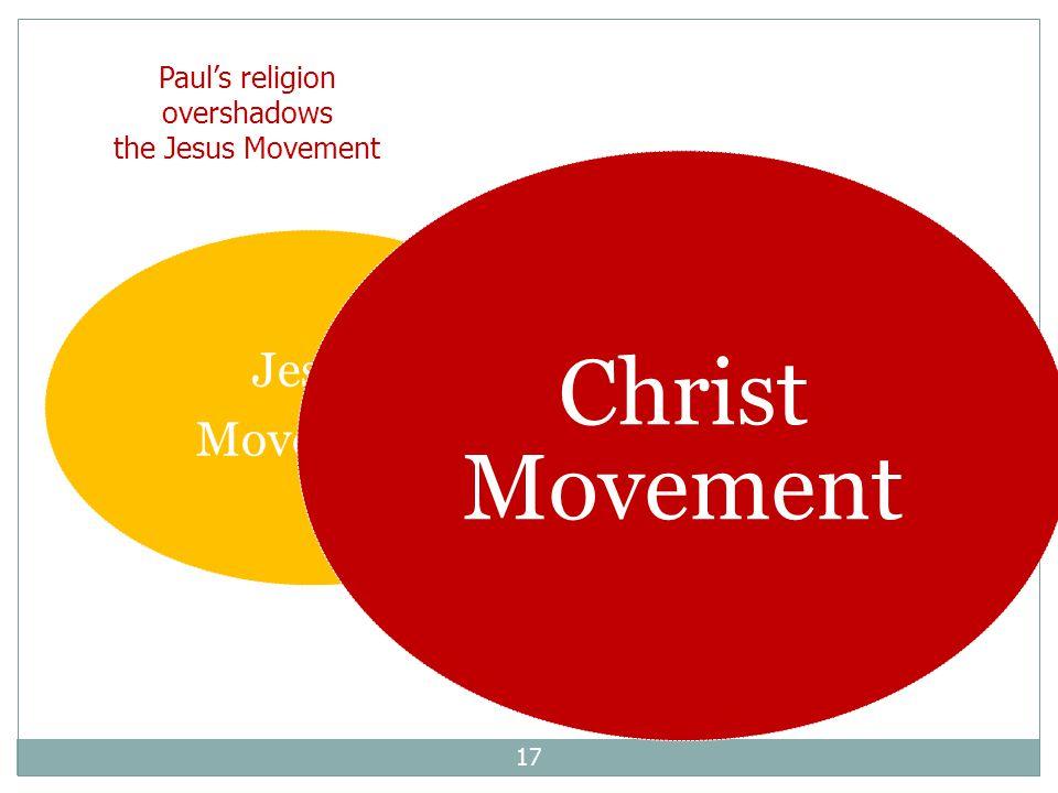17 Jesus Movement Christ Movement Paul's religion overshadows the Jesus Movement