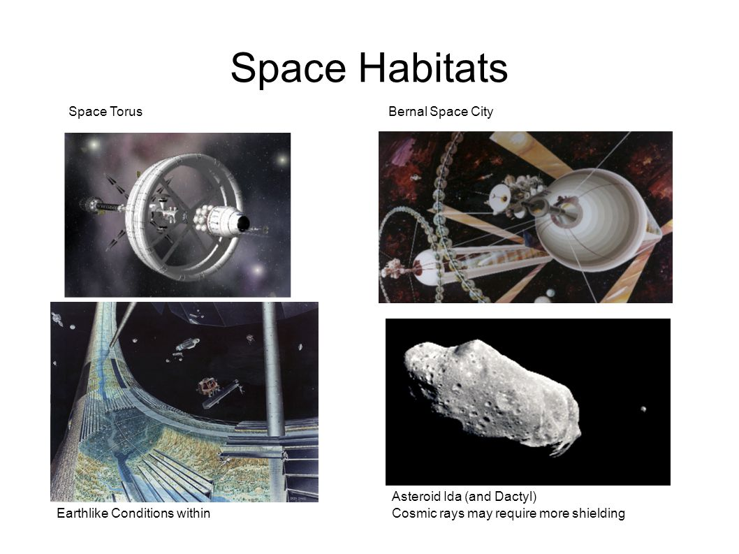 Space Habitats Asteroid Ida (and Dactyl) Space TorusBernal Space City Earthlike Conditions withinCosmic rays may require more shielding