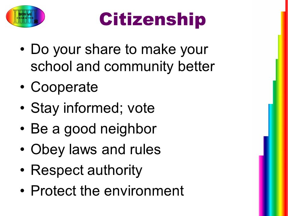 Citizenship Do your share to make your school and community better Cooperate Stay informed; vote Be a good neighbor Obey laws and rules Respect author