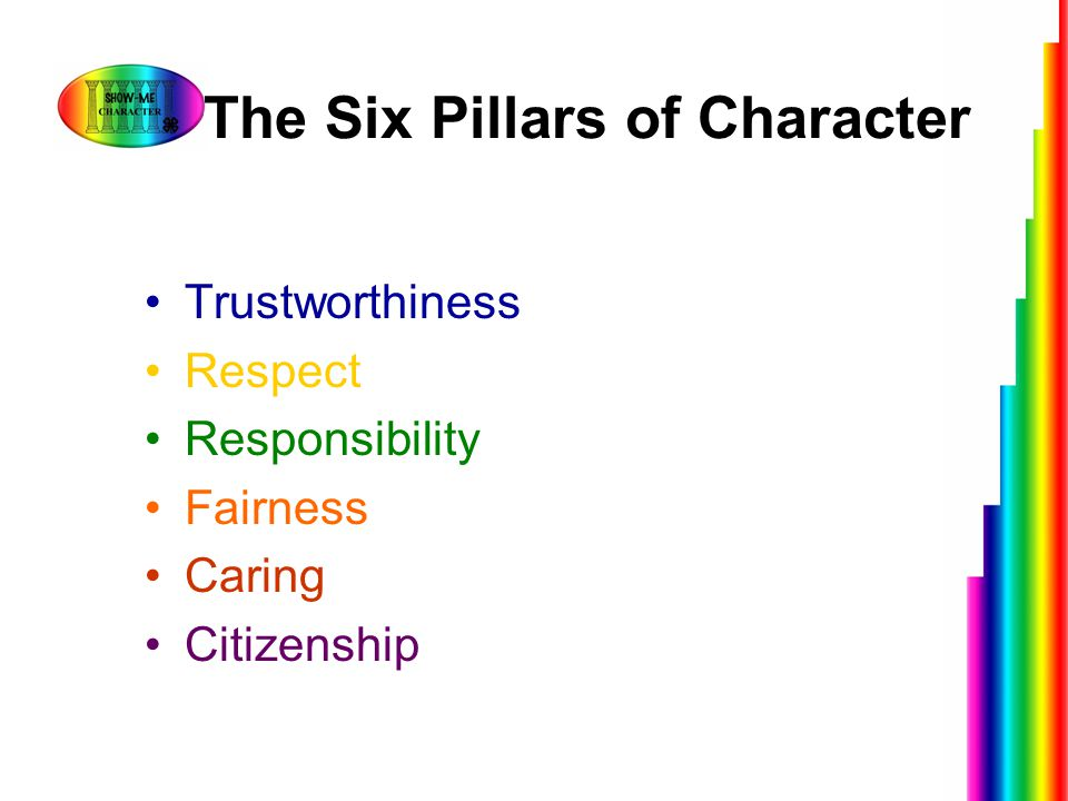 The Six Pillars of Character Trustworthiness Respect Responsibility Fairness Caring Citizenship