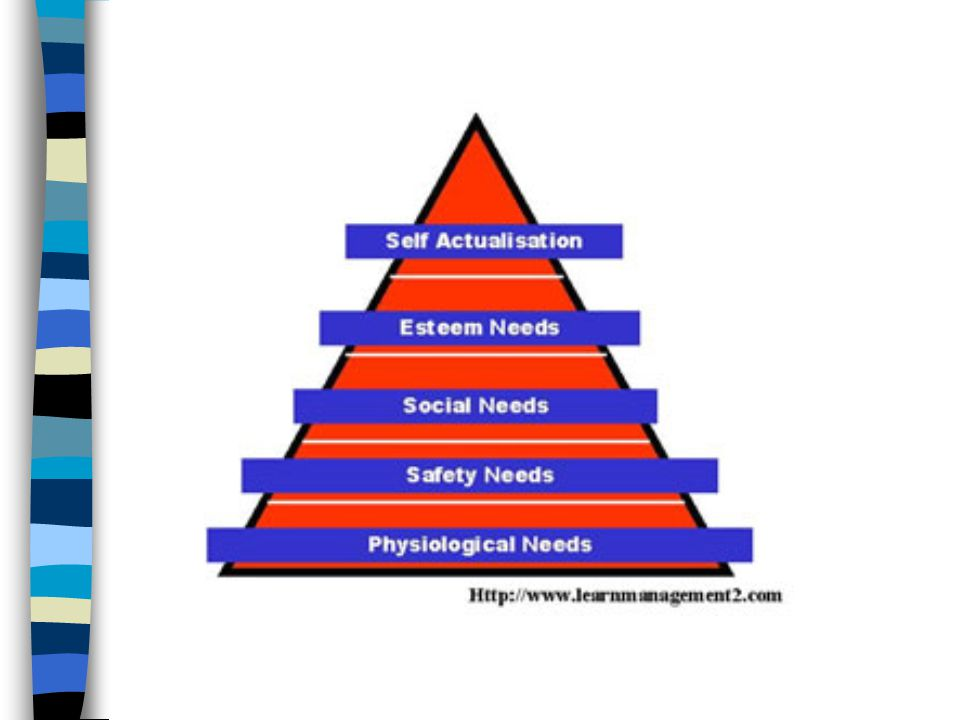 Maslow s Hierarchy of Needs Physical Hunger, thirst, sleep, safety, and security Emotional Need to belong and be loved Need to achieve Aesthetic Need to know and explore Self-fulfilling Best you can be