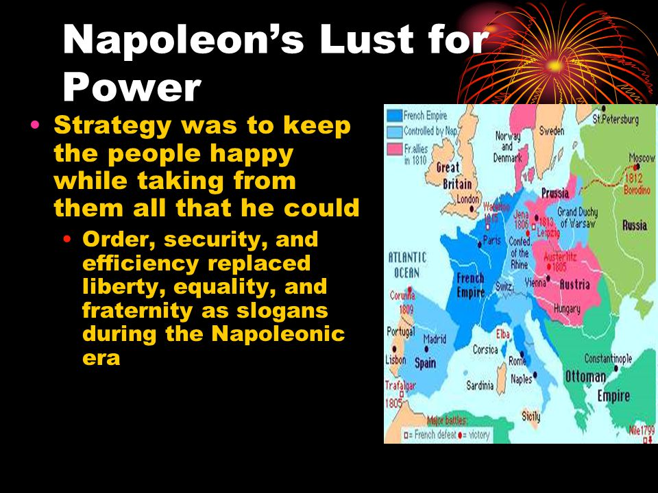 Napoleon's Lust for Power Strategy was to keep the people happy while taking from them all that he could Order, security, and efficiency replaced libe