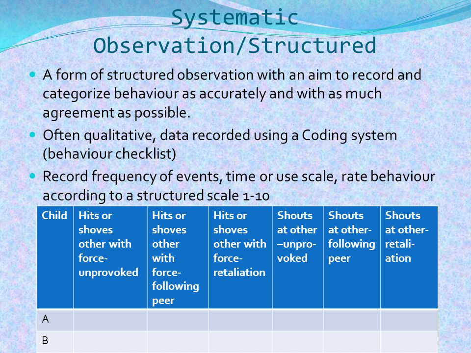 Systematic Observation/Structured A form of structured observation with an aim to record and categorize behaviour as accurately and with as much agreement as possible.