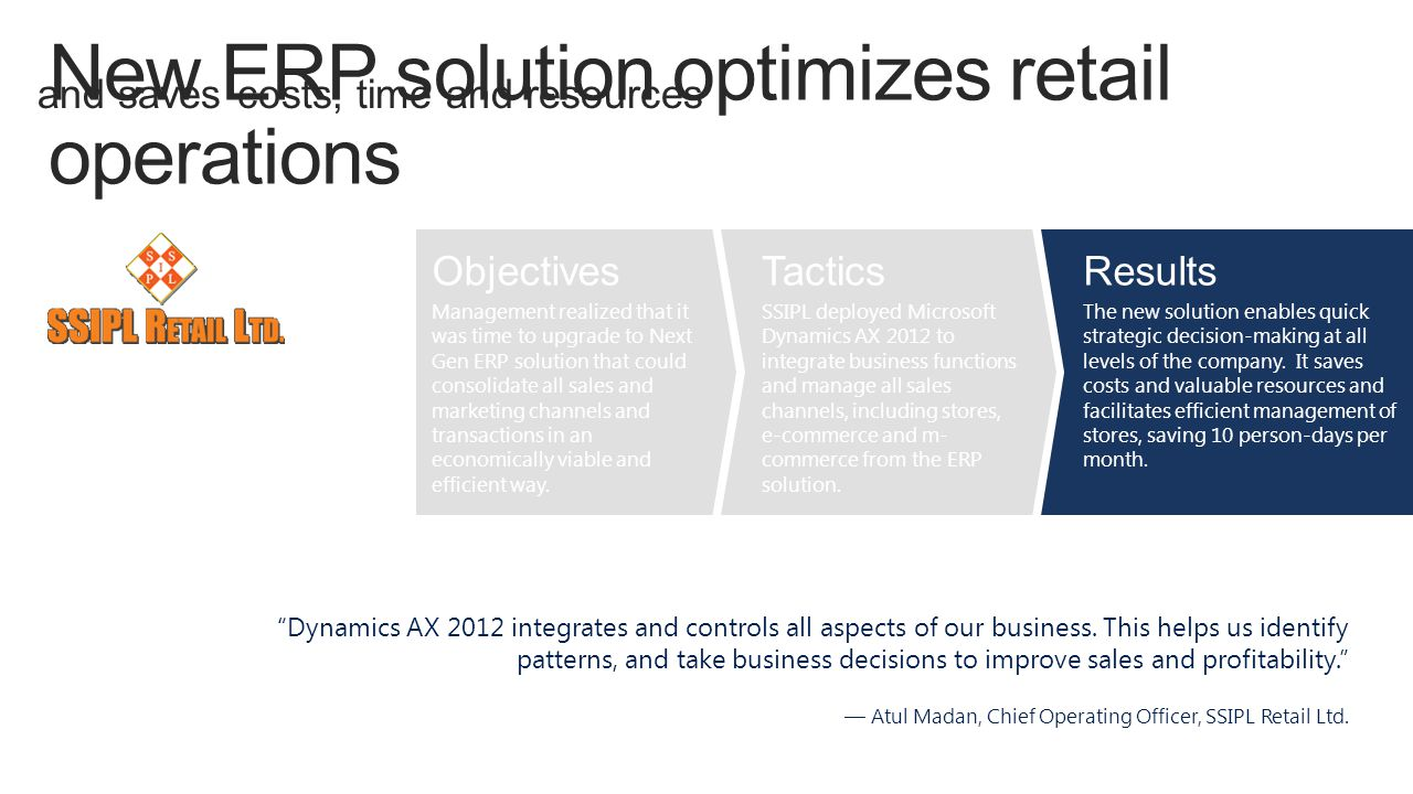 and saves costs, time and resources Dynamics AX 2012 integrates and controls all aspects of our business.