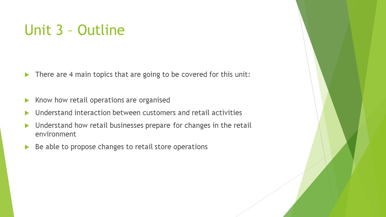 Unit 3 – Outline  There are 4 main topics that are going to be covered for this unit:  Know how retail operations are organised  Understand interac