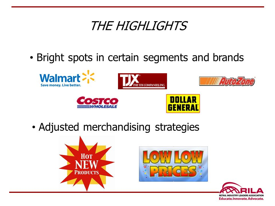 THE HIGHLIGHTS Bright spots in certain segments and brands Adjusted merchandising strategies