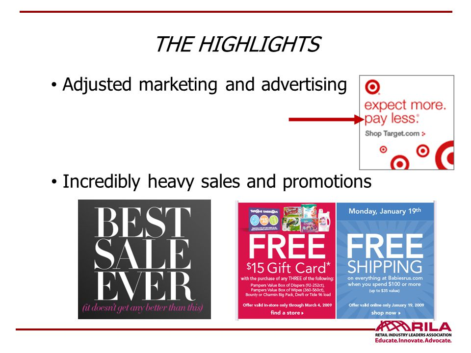THE HIGHLIGHTS Adjusted marketing and advertising Incredibly heavy sales and promotions