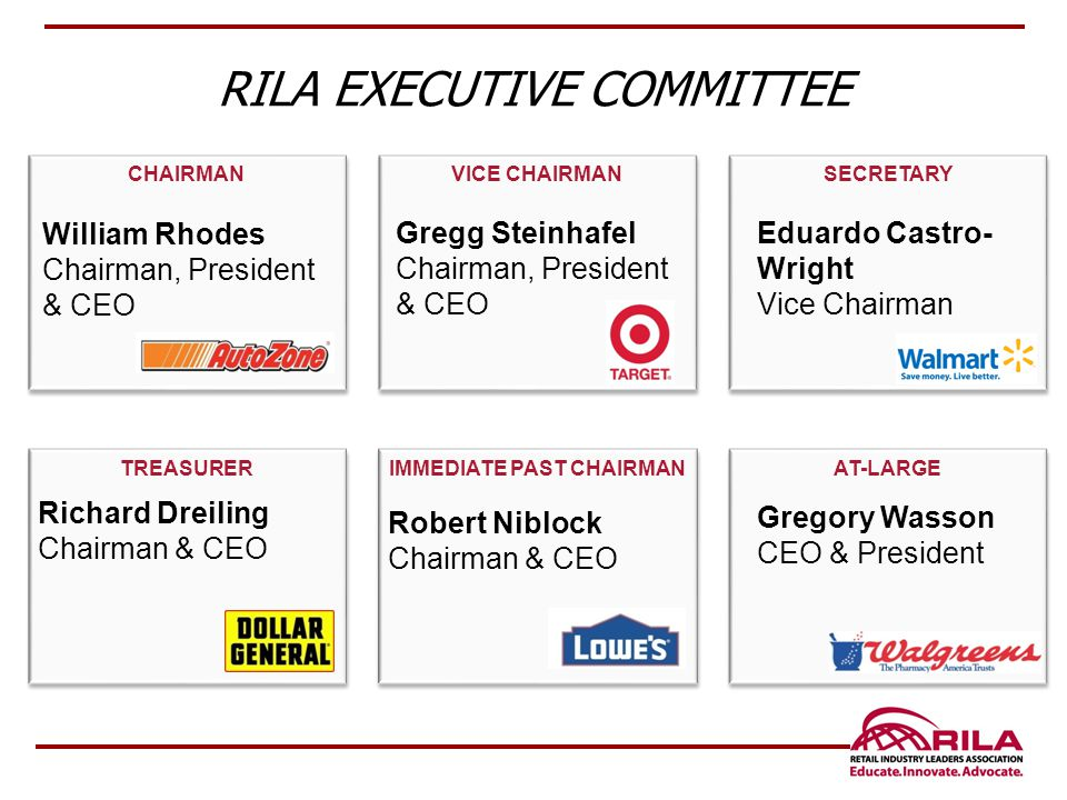 RILA EXECUTIVE COMMITTEE CHAIRMAN VICE CHAIRMAN SECRETARY TREASURER IMMEDIATE PAST CHAIRMAN AT-LARGE Robert Niblock Chairman & CEO Eduardo Castro- Wright Vice Chairman Gregg Steinhafel Chairman, President & CEO Gregory Wasson CEO & President William Rhodes Chairman, President & CEO Richard Dreiling Chairman & CEO