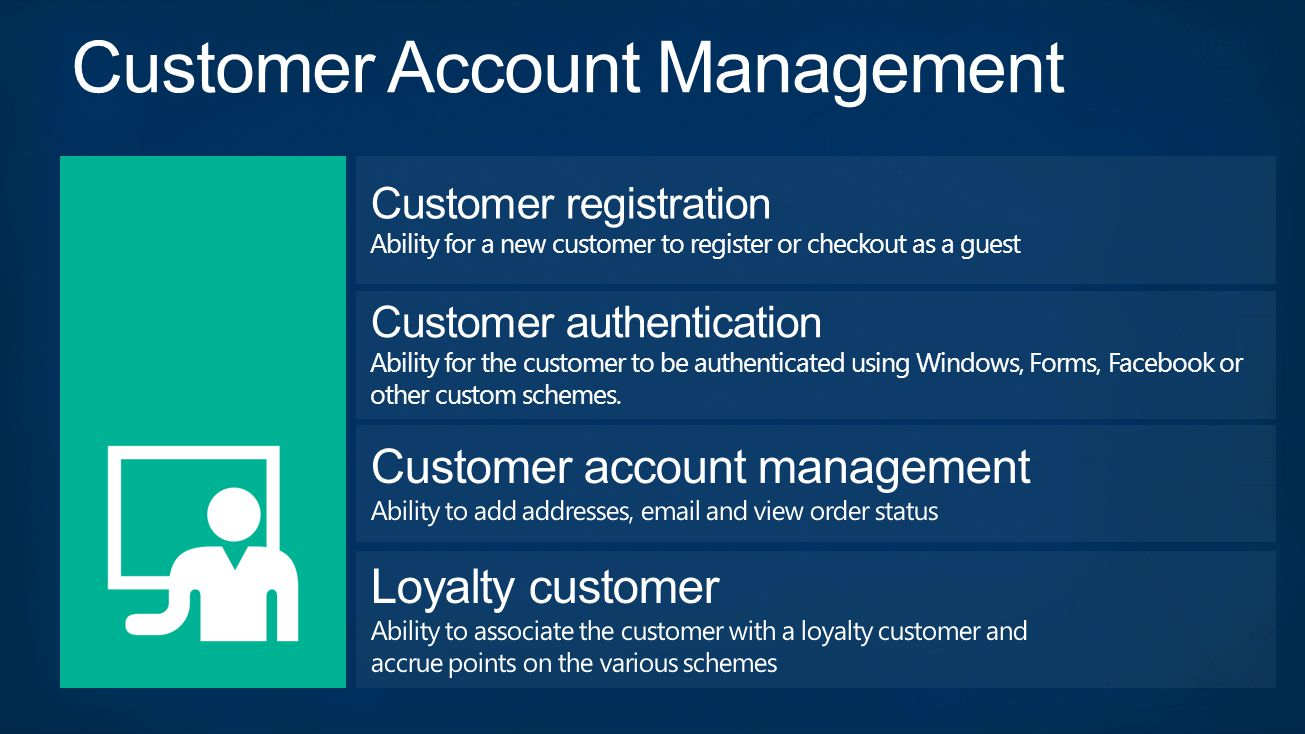 Customer registration Ability for a new customer to register or checkout as a guest Customer authentication Ability for the customer to be authenticated using Windows, Forms, Facebook or other custom schemes.