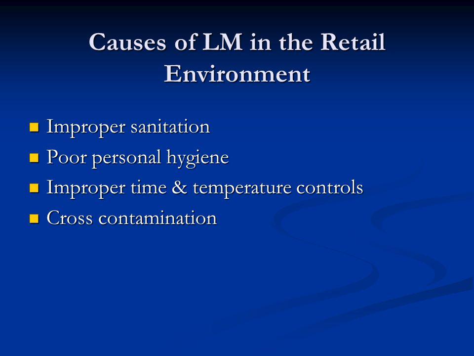 Causes of LM in the Retail Environment Improper sanitation Improper sanitation Poor personal hygiene Poor personal hygiene Improper time & temperature