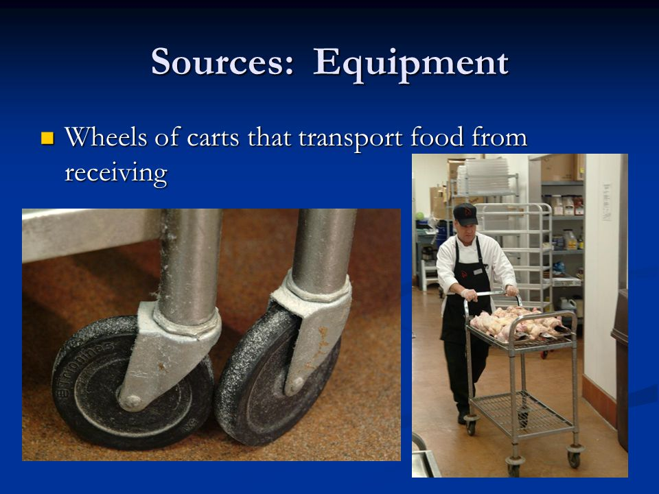 Sources: Equipment Wheels of carts that transport food from receiving Wheels of carts that transport food from receiving