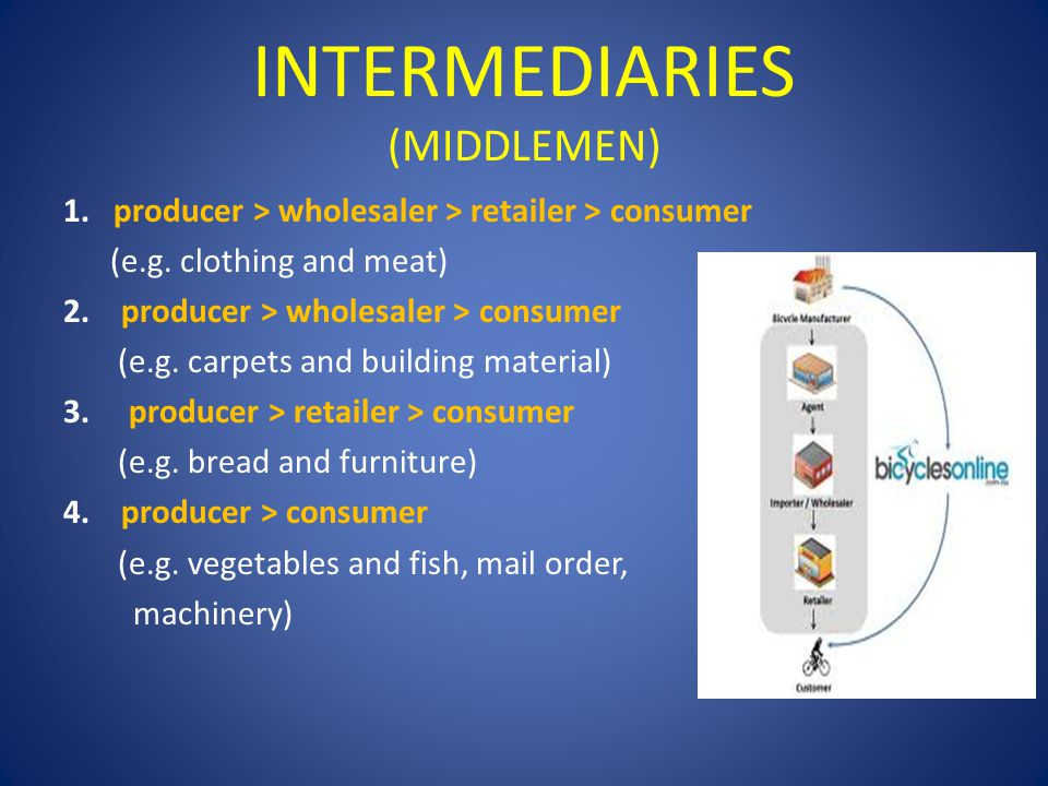 INTERMEDIARIES (MIDDLEMEN) 1. producer > wholesaler > retailer > consumer (e.g. clothing and meat) 2. producer > wholesaler > consumer (e.g. carpets a