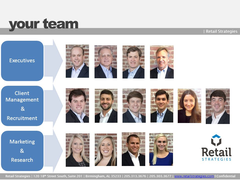 your team | Retail Strategies Retail Strategies | 120 18 th Street South, Suite 201 | Birmingham, AL 35233 | 205.313.3676 | 205.303.3677 | www.retails
